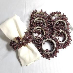 Pottery Barn Glass Beaded Napkin Rings Set of 8
